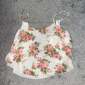 NWT Floral crop top with open back with chains
